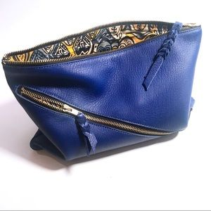 Large leather clutch with zippers